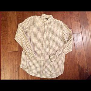Men's STETSON Cream/Brown plaid western shirt M